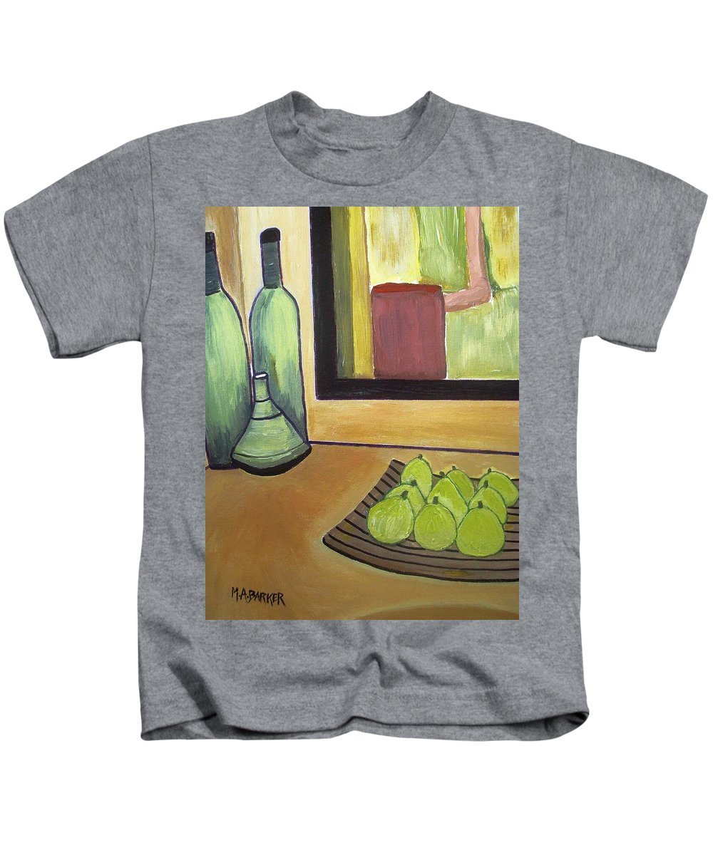 Bottles Kids T-Shirt featuring the painting Bottles And Pears No 2 by Mary ann Barker