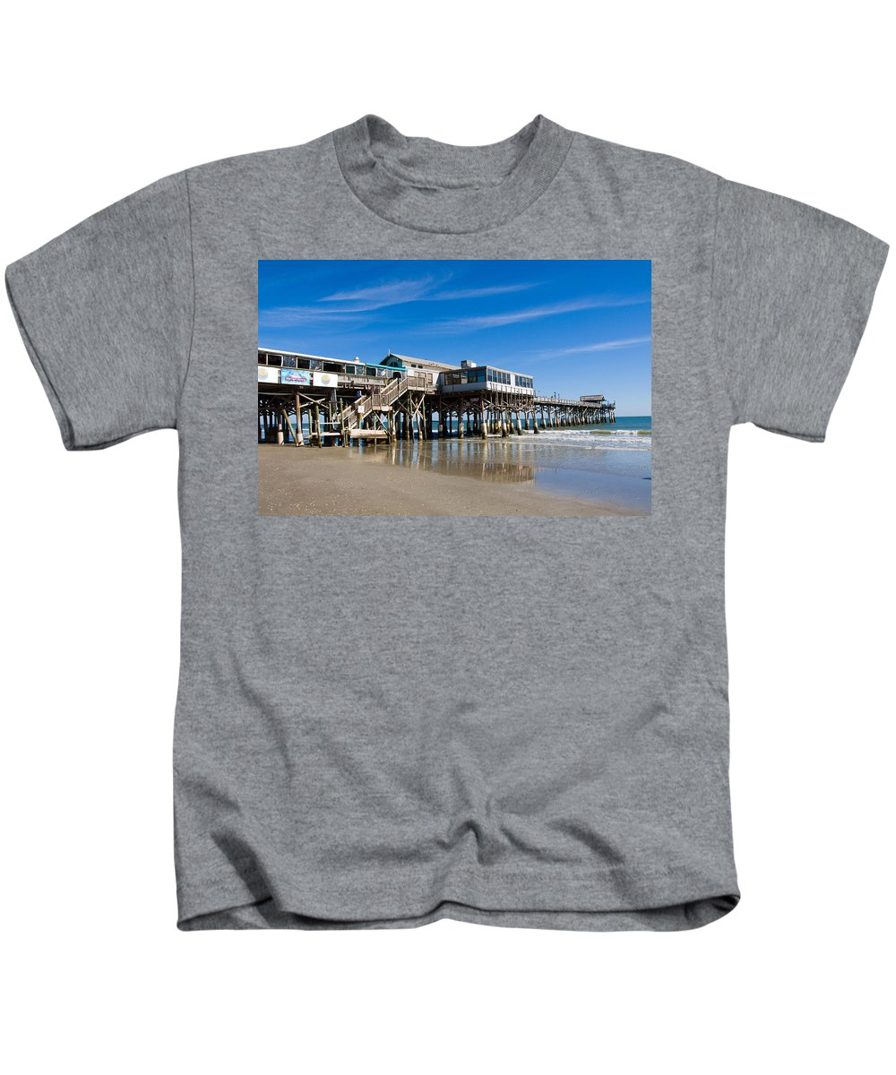 Florida; Cocoa; Beach; Atlantic; Ocean; East; Space; Coast; Brevard; Central; Pier; Surf; Surfing; F Kids T-Shirt featuring the photograph Cocoa Beach Florida by Allan Hughes