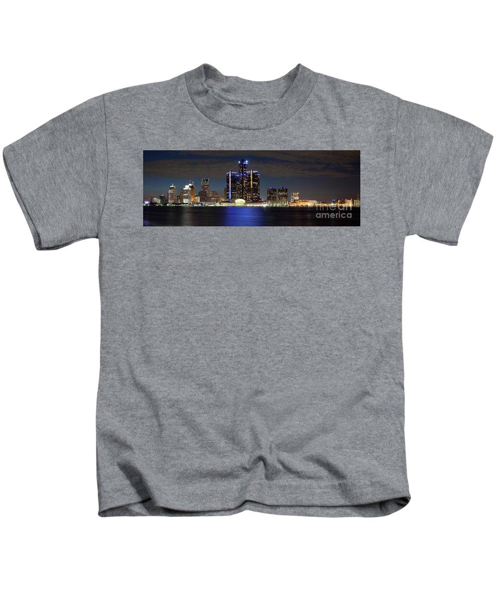 Renaissance Center Kids T-Shirt featuring the photograph Detroit Skyline Panorama by Bill Cobb