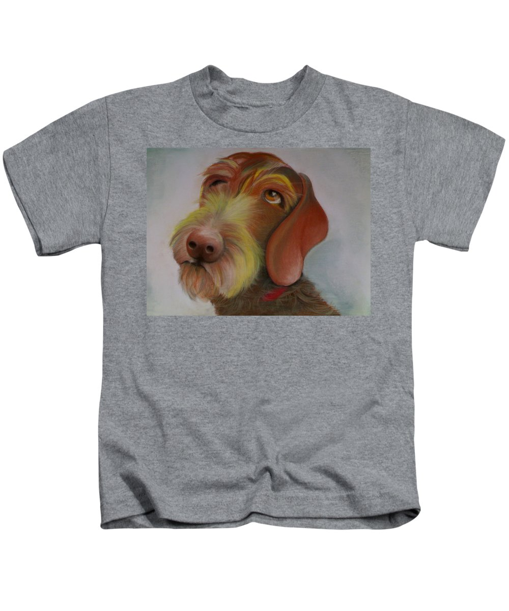 Drahthaar Kids T-Shirt featuring the painting Drahthaar by Catt Kyriacou