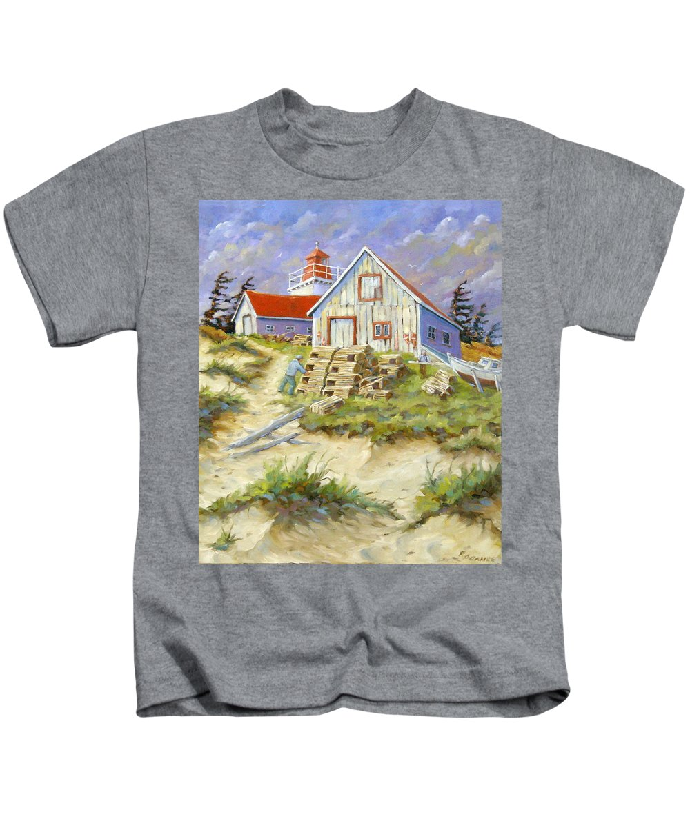 Art Kids T-Shirt featuring the painting End Of Lobster Season by Richard T Pranke