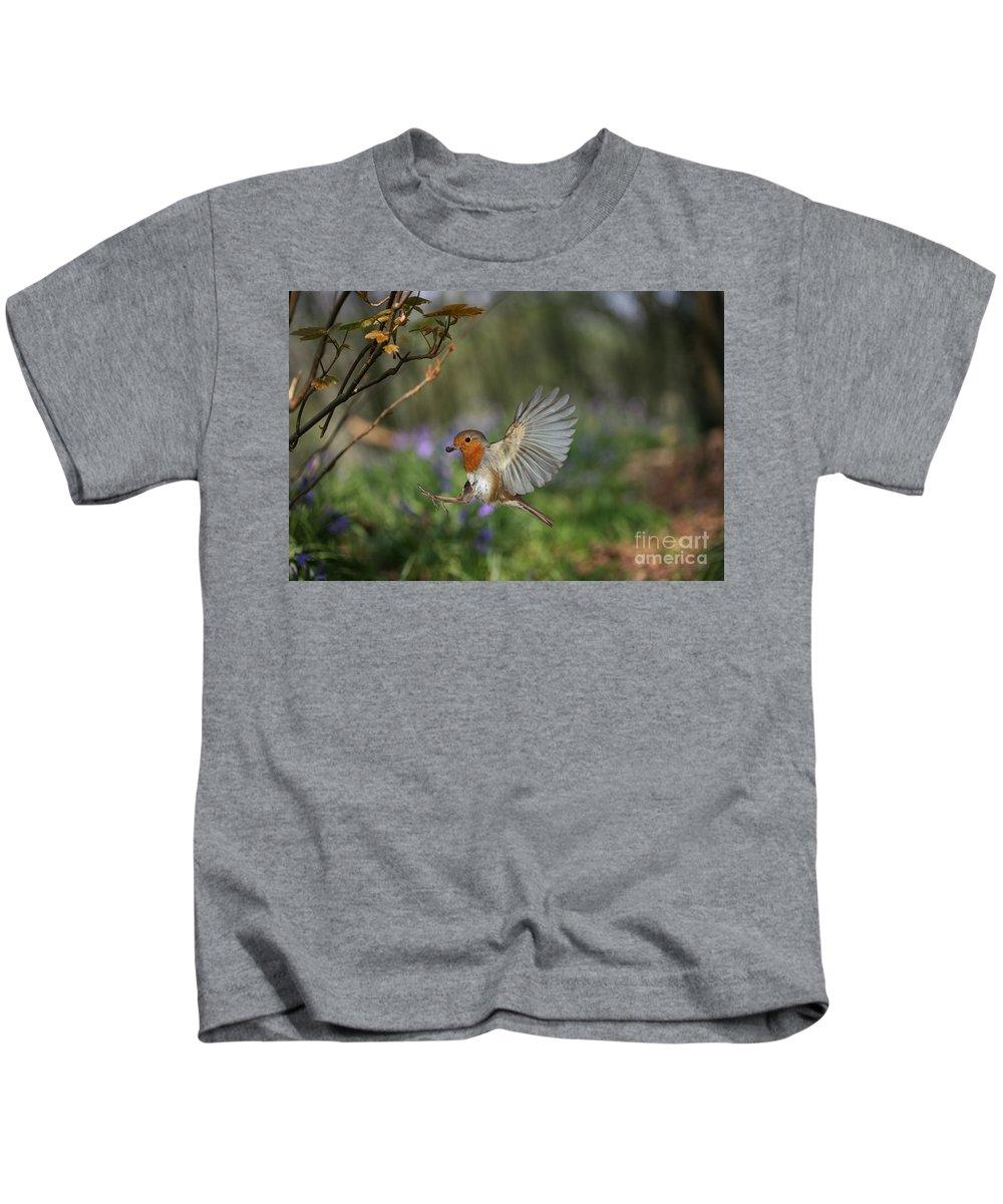 European Robin Kids T-Shirt featuring the photograph European Robin Alighting by Warren Photographic