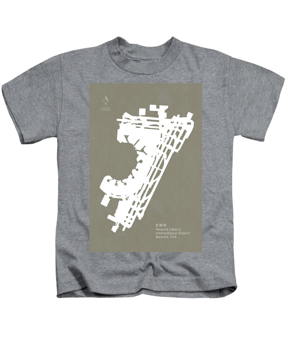 Silhouette Kids T-Shirt featuring the digital art Ewr Newark Liberty International Airport In Newark Usa Runway Si by Jurq Studio