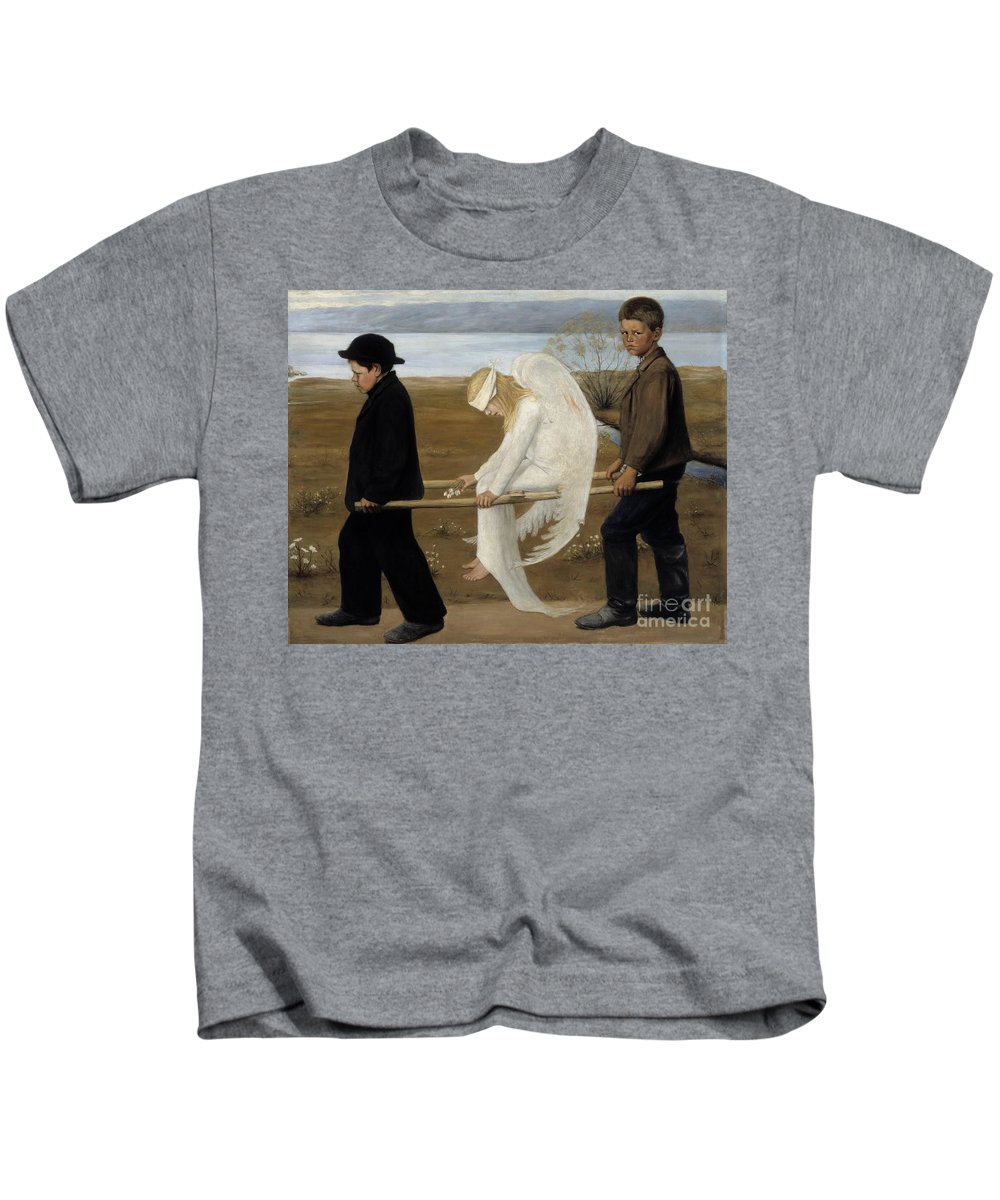 Hugo Gerhard Simberg Kids T-Shirt featuring the painting Finnish by MotionAge Designs