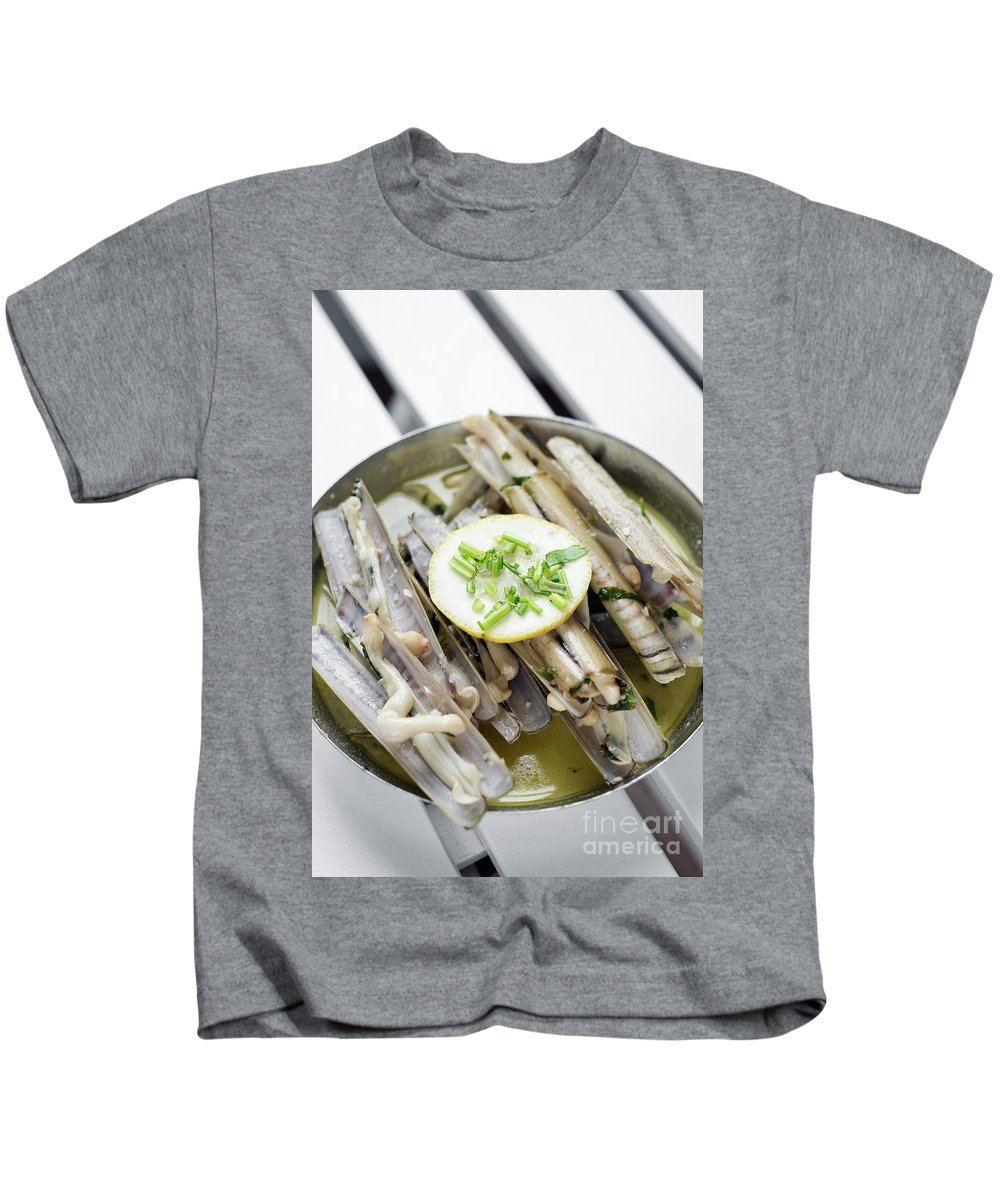 Boiled Kids T-Shirt featuring the photograph Fresh Razor Shell Seafood Steamed In Garlic Herb Wine Sauce by Jacek Malipan