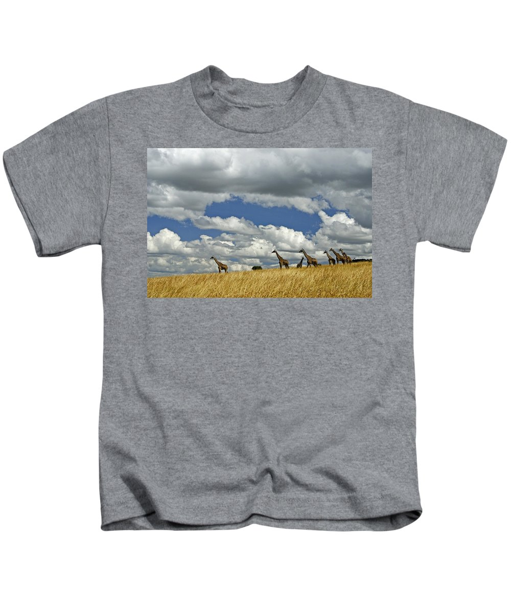 Africa Kids T-Shirt featuring the photograph Giraffes On The Horizon by Michele Burgess