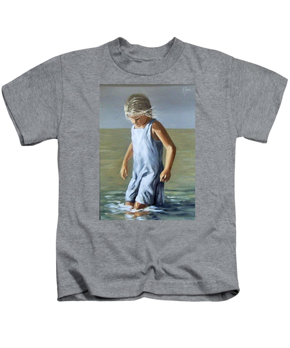 Girl Children Reflection Water Sea Figurative Portrait Kids T-Shirt featuring the painting Girl by Natalia Tejera