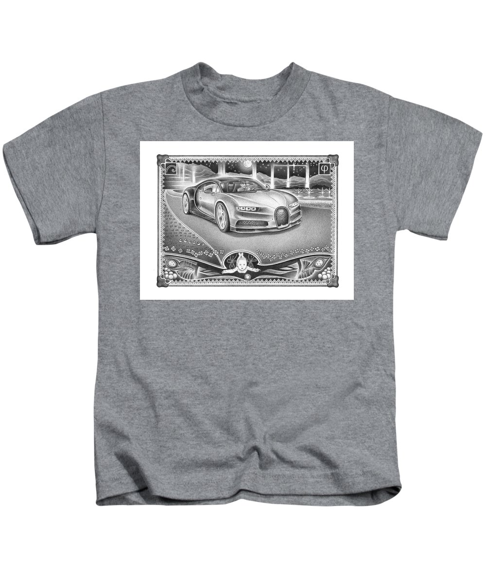 Jordan Cohen Kids T-Shirt featuring the drawing God Watches Over by Jordan Cohen