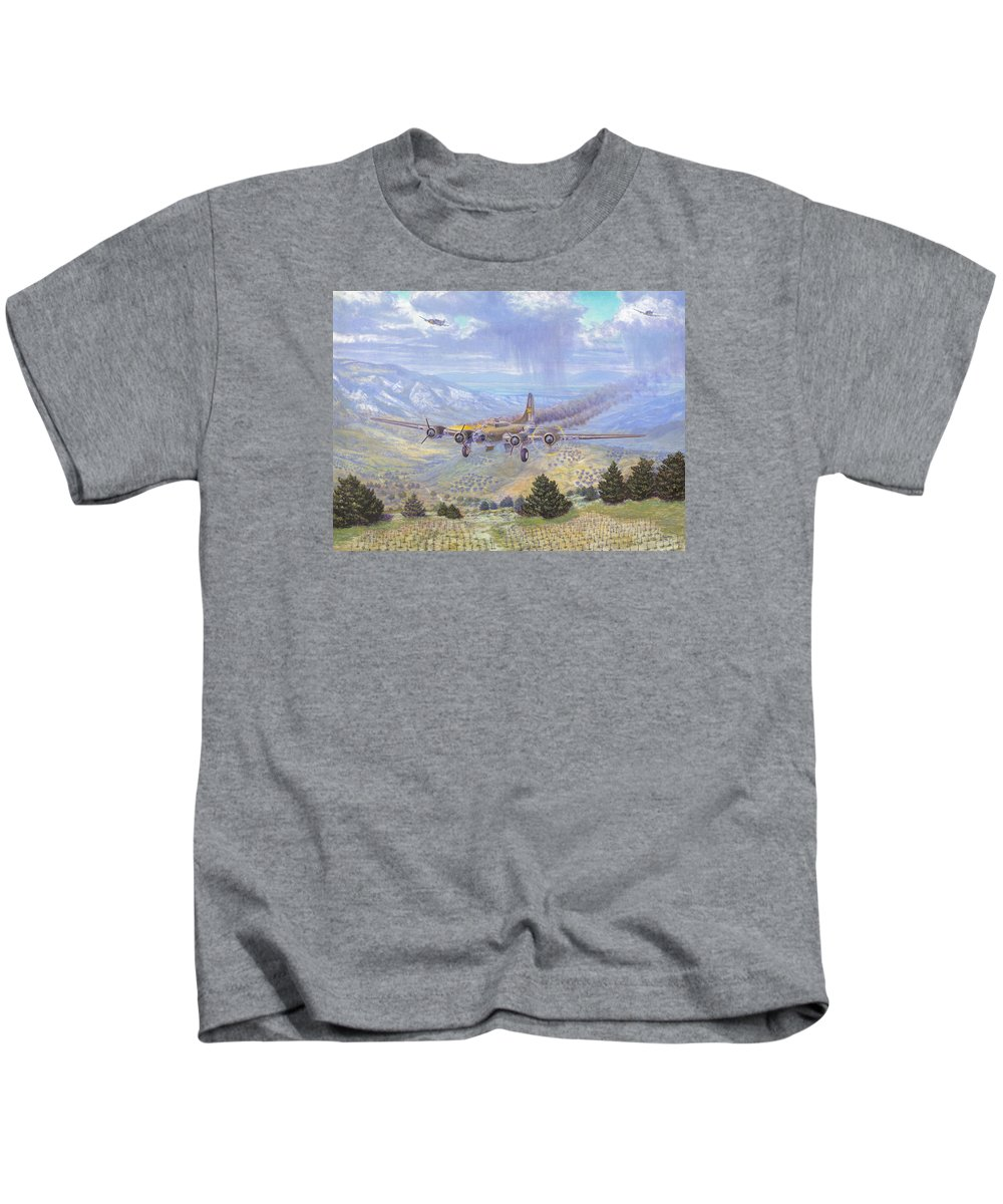 99th Bomb Group Kids T-Shirt featuring the painting Her Majestys Last Landing by Scott Robertson