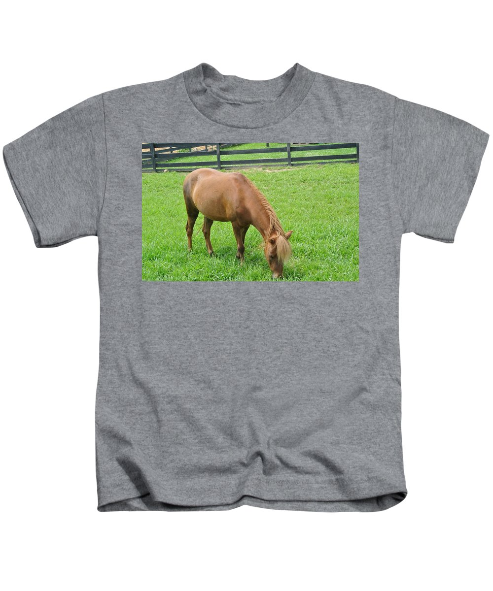 Horse Kids T-Shirt featuring the photograph Horse by FL collection