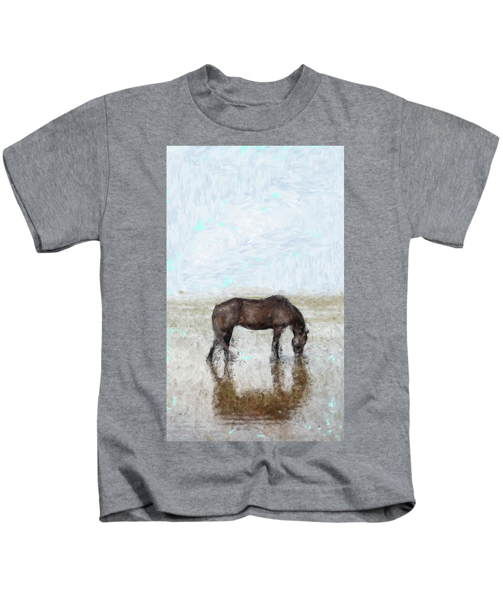 Pakistan Horse Water Reflection Sky Kids T-Shirt featuring the painting Horse by Shahzad Hamid