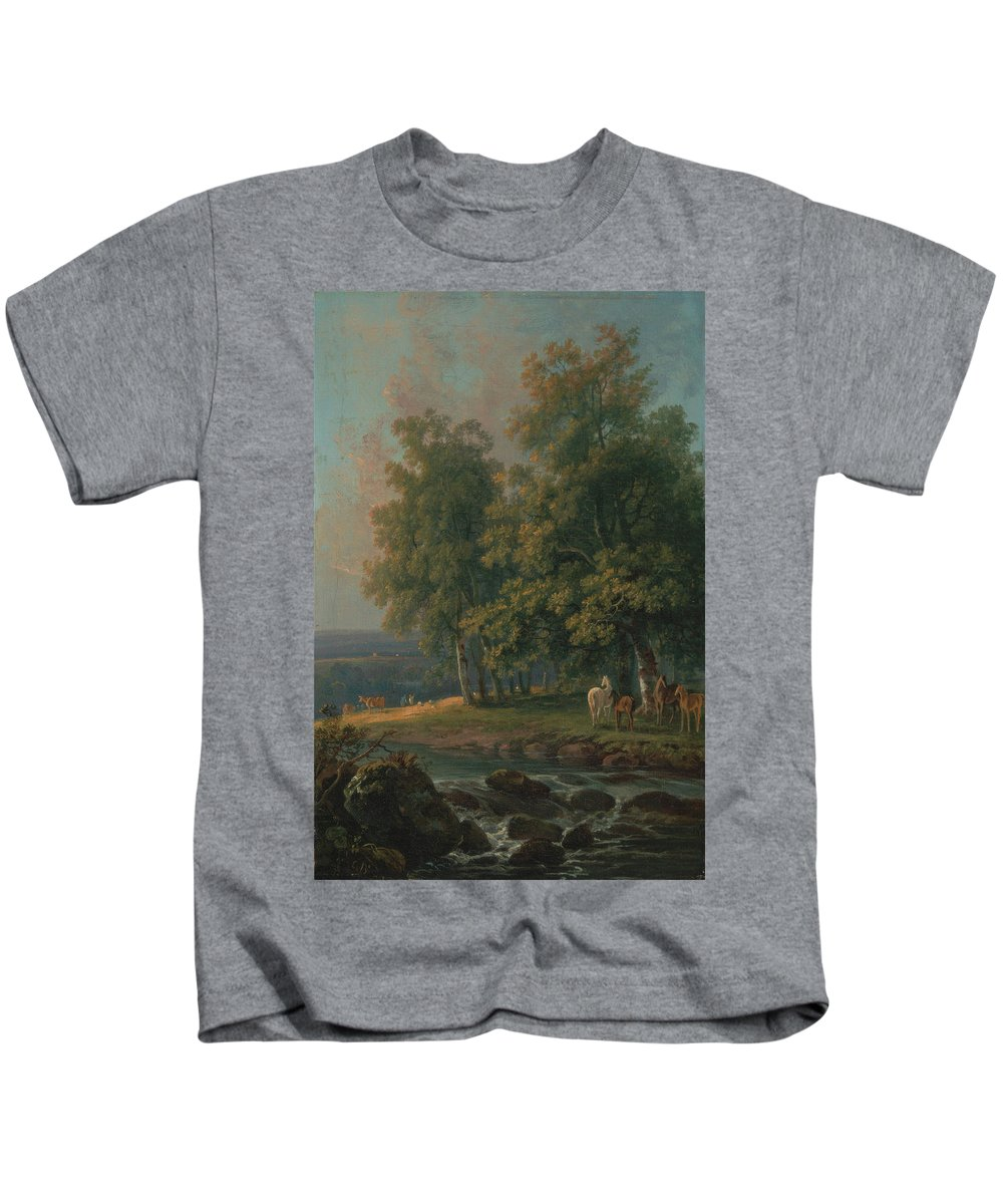 George Barret Ra Kids T-Shirt featuring the painting Horses And Cattle By A River by George Barret