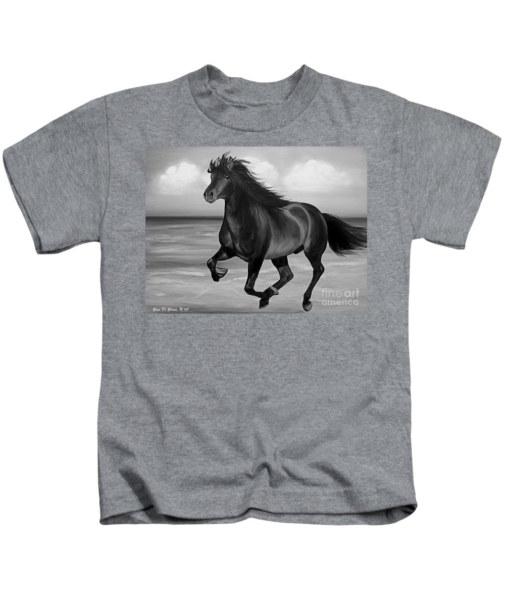 Horses Kids T-Shirt featuring the painting Horses in Paradise RUN by Gina De Gorna