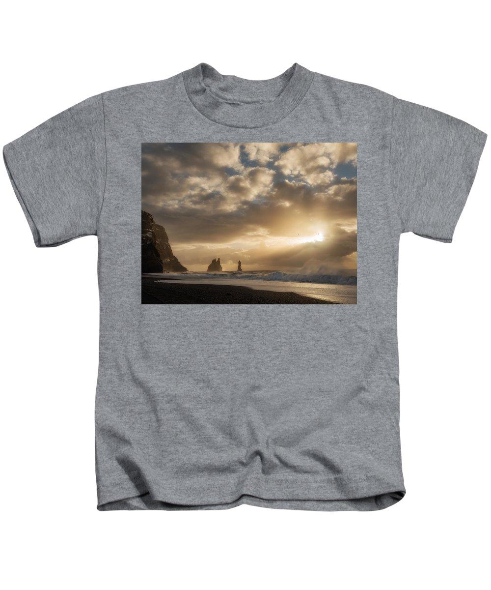 Dyrholaey Kids T-Shirt featuring the photograph Icelandic Seascape by Dan Leffel