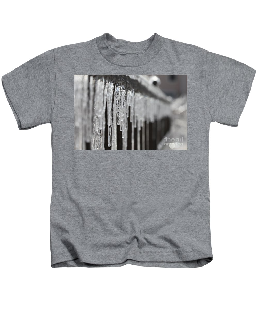 Icicles Kids T-Shirt featuring the photograph Icicles At Attention by Nadine Rippelmeyer