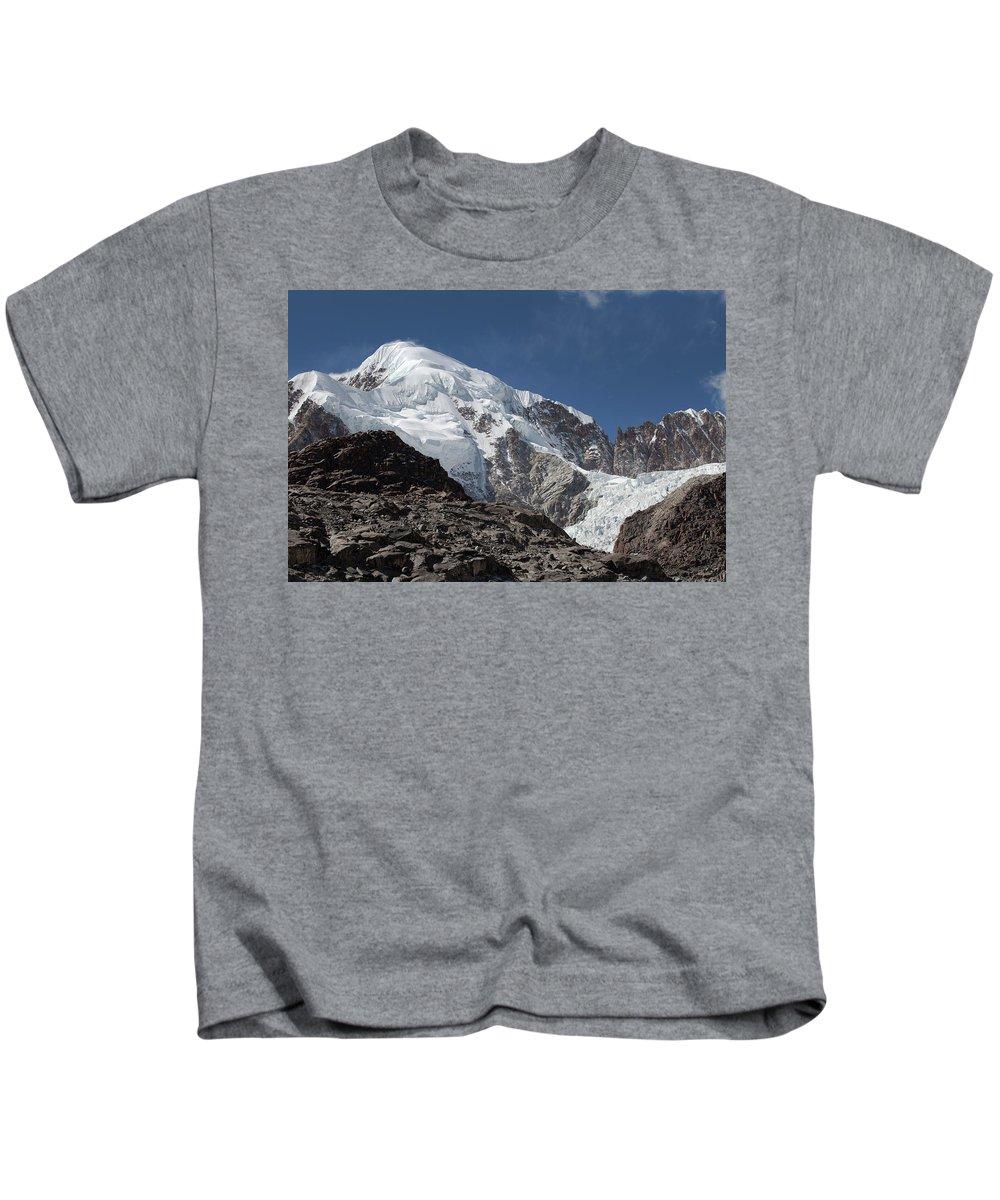 Illampu Kids T-Shirt featuring the photograph Illampu Mountain by Aivar Mikko