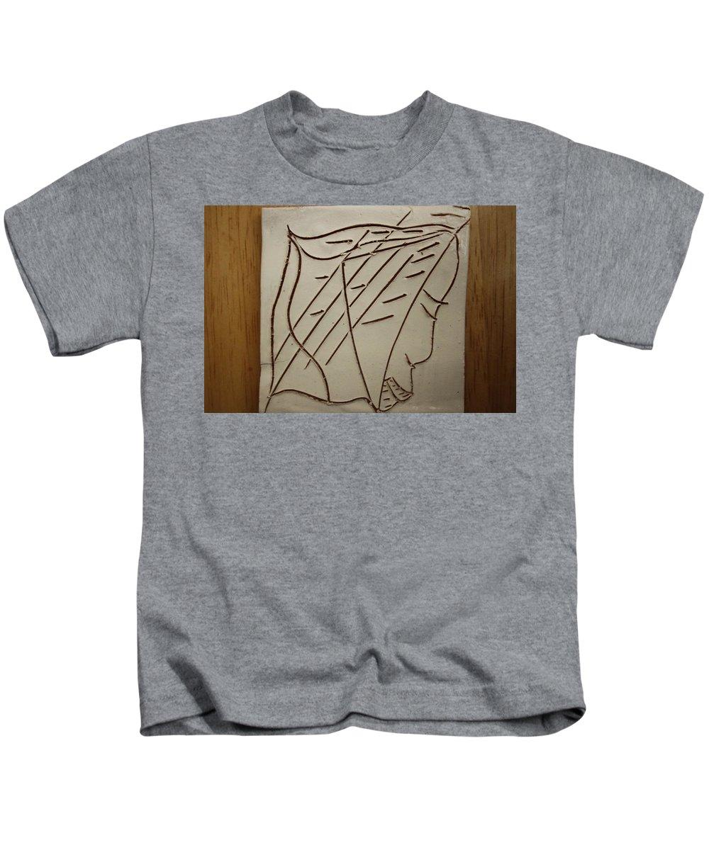 Jesus Kids T-Shirt featuring the ceramic art Jesus - Tile by Gloria Ssali