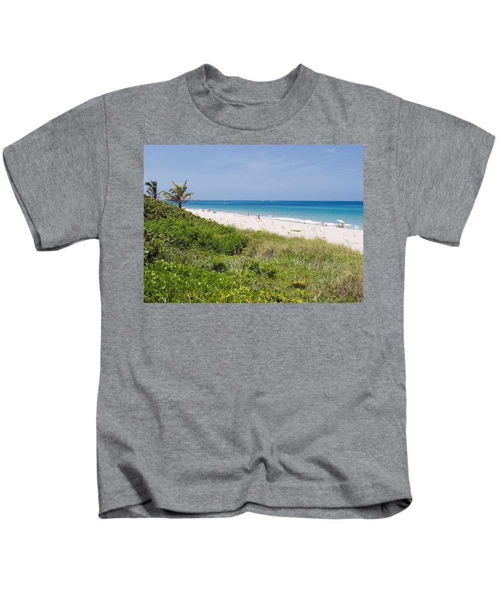 Juno; Florida; Loxahatchee; River; Jupiter; Inlet; Swim; Swimming; Children; Girl; Boy; Woman; Man; Kids T-Shirt featuring the photograph Juno Beach In Florida by Allan Hughes