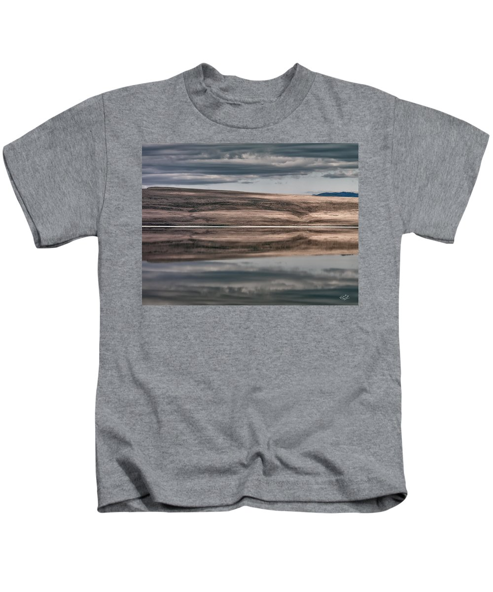 Alkali Lake Kids T-Shirt featuring the photograph Lake Reflections by Leland D Howard