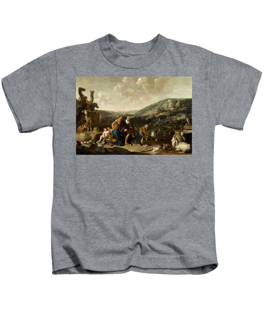 Cornelis Saftleven Kids T-Shirt featuring the painting Landscape With Jacob And Rachel by Cornelis Saftleven