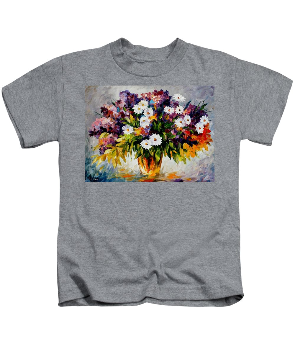 Afremov Kids T-Shirt featuring the painting Lilac And Camomiles by Leonid Afremov