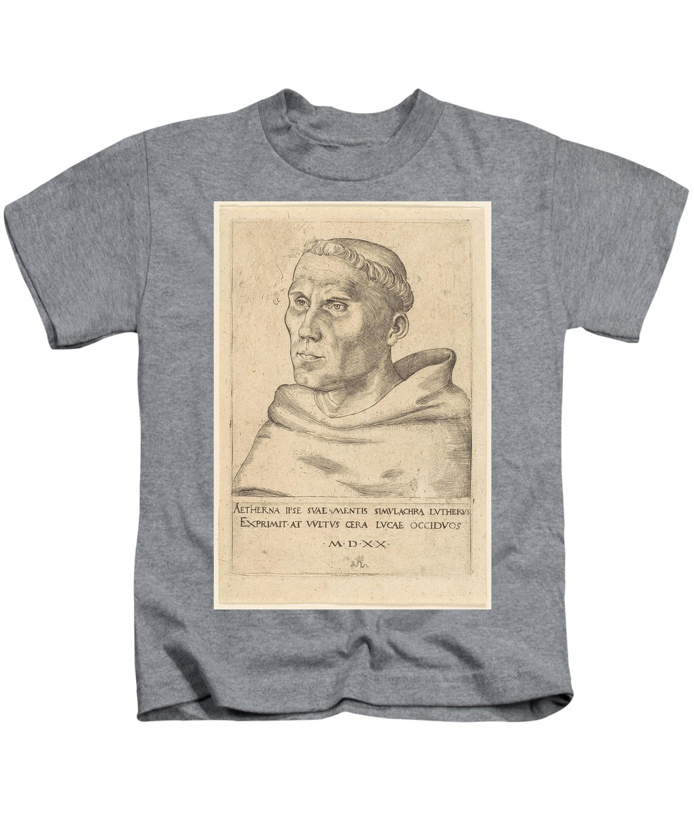 Martin Luther As An Augustinian Monk Kids T-Shirt featuring the painting Lucas Cranach The Elder by MotionAge Designs