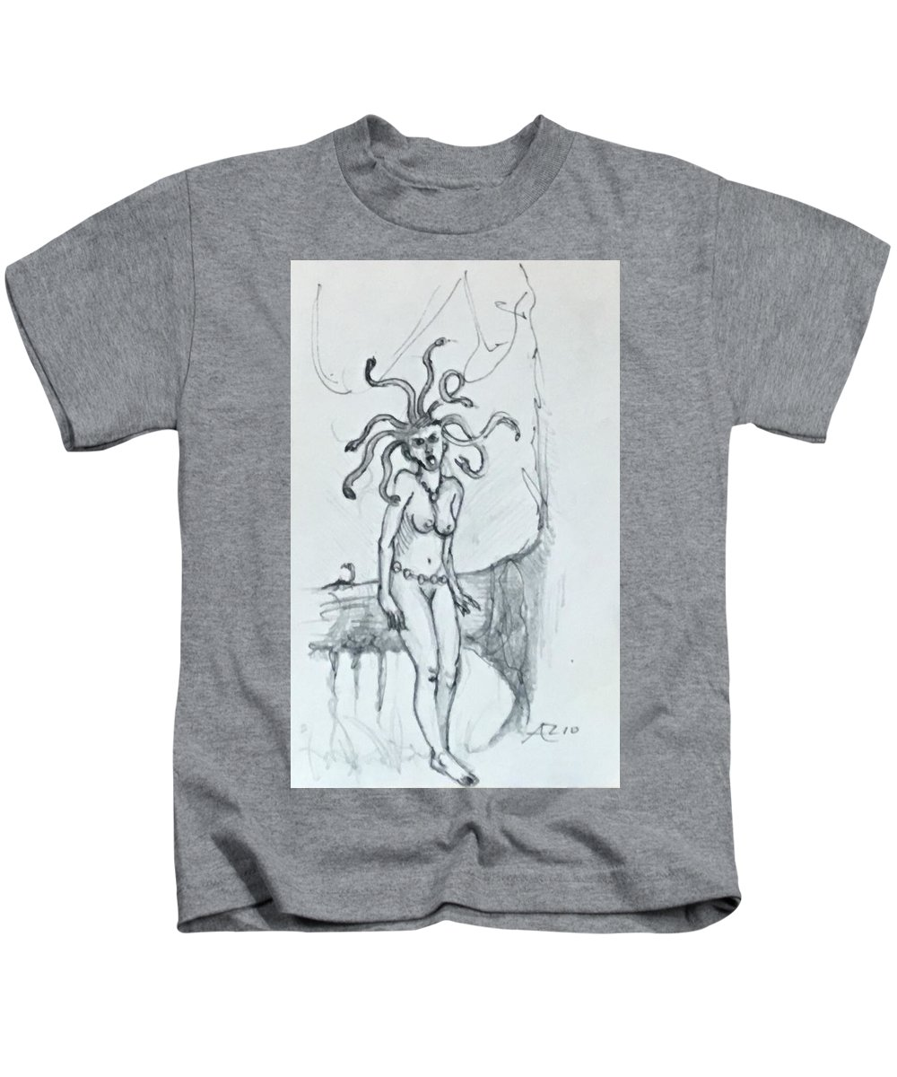 Kids T-Shirt featuring the drawing Medusa by Alejandro Lopez-Tasso