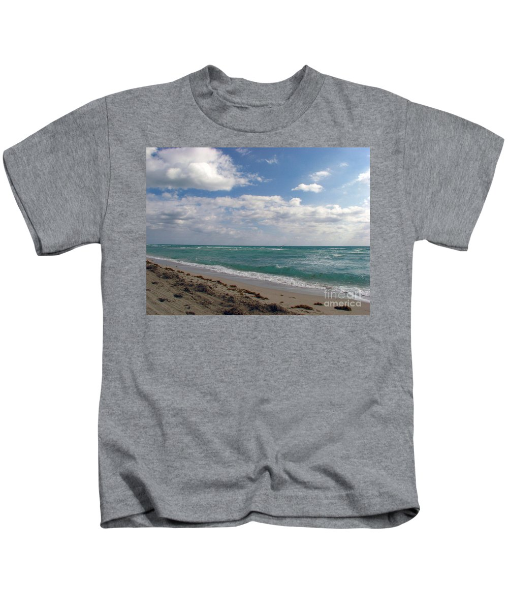Miami Beach Kids T-Shirt featuring the photograph Miami Beach by Amanda Barcon
