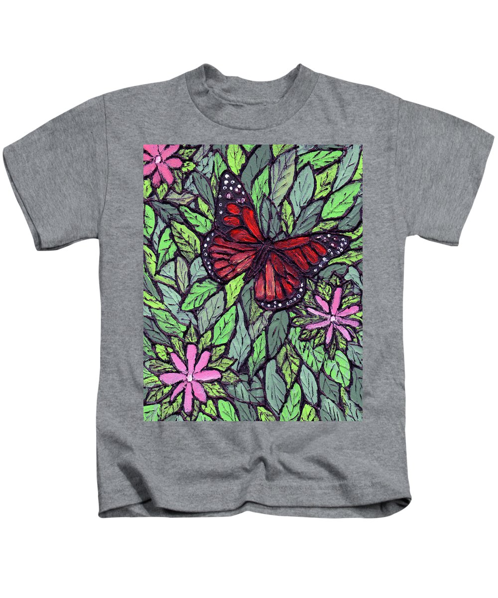 Monarch Kids T-Shirt featuring the painting Monarch Butterfly by Wayne Potrafka