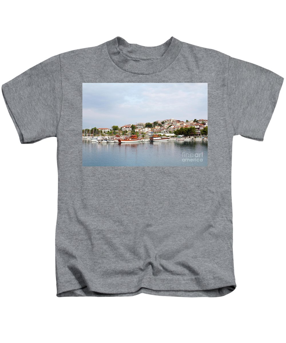 Neos Marmaras Kids T-Shirt featuring the photograph Neos Marmaras Sithonia Halkidiki Greece by Goce Risteski
