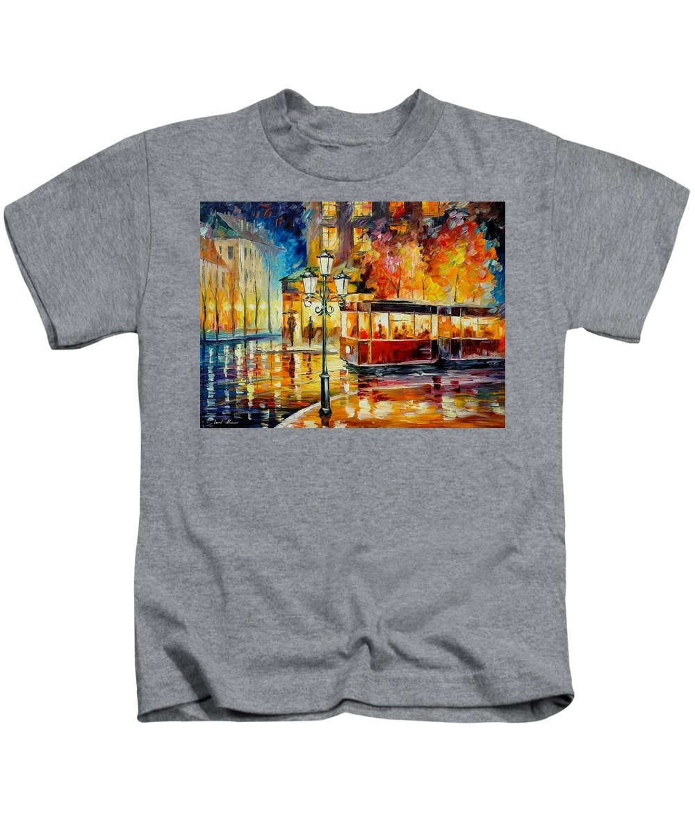 Afremov Kids T-Shirt featuring the painting Night Trolley by Leonid Afremov