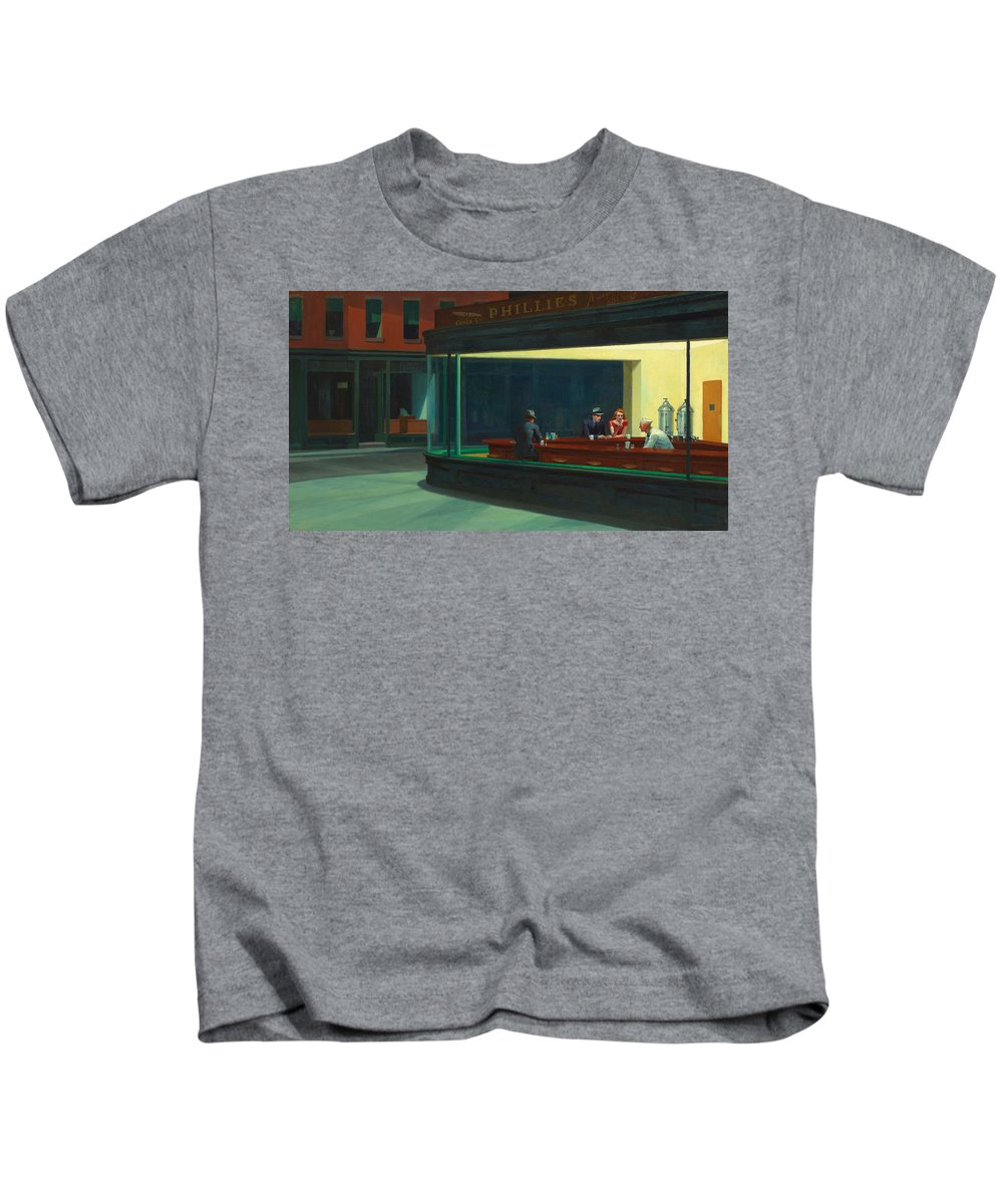 Nighthawks Kids T-Shirt featuring the photograph Nighthawks by Edward Hopper