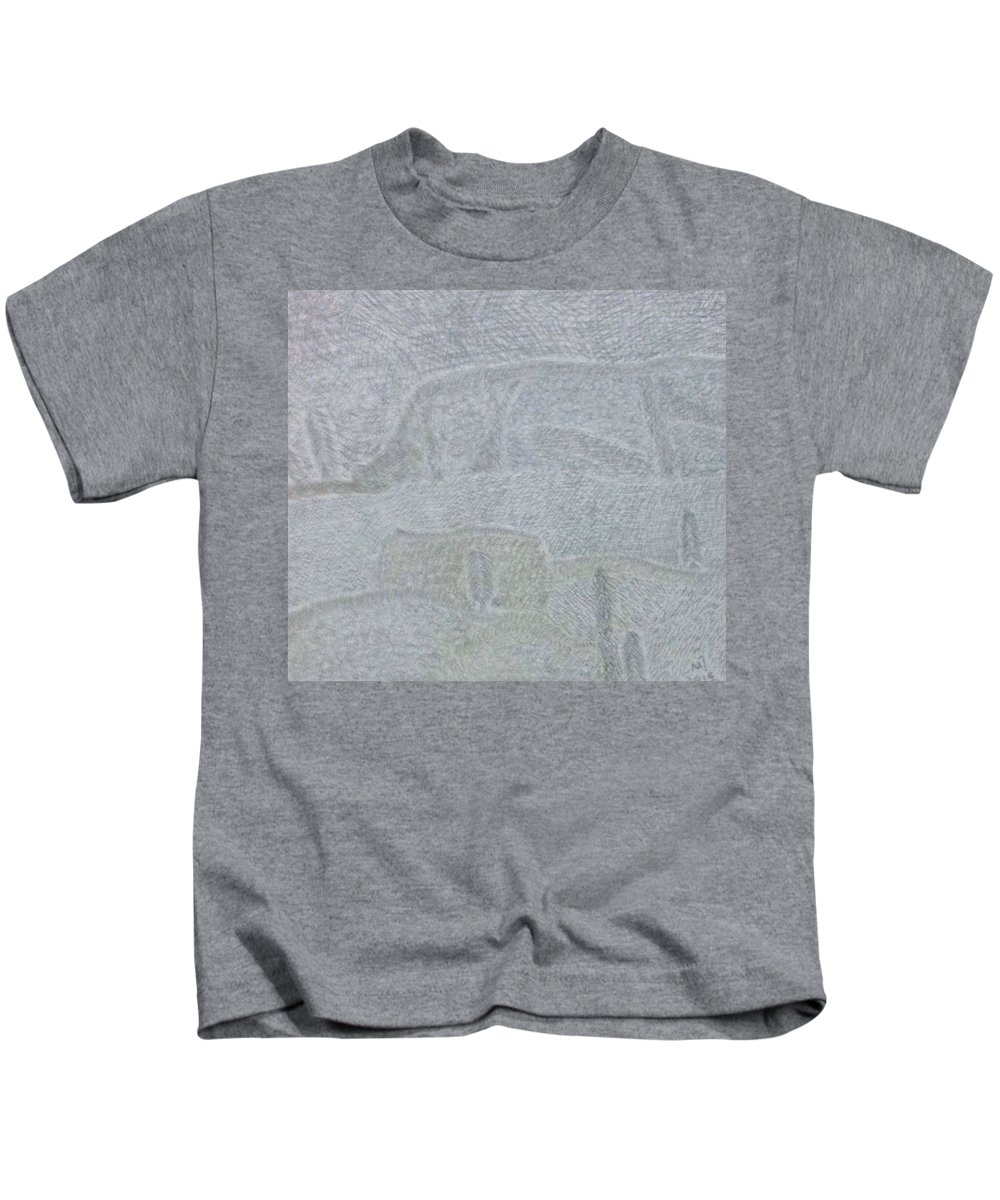 Landscape Kids T-Shirt featuring the drawing No. 436 by Vijayan Kannampilly