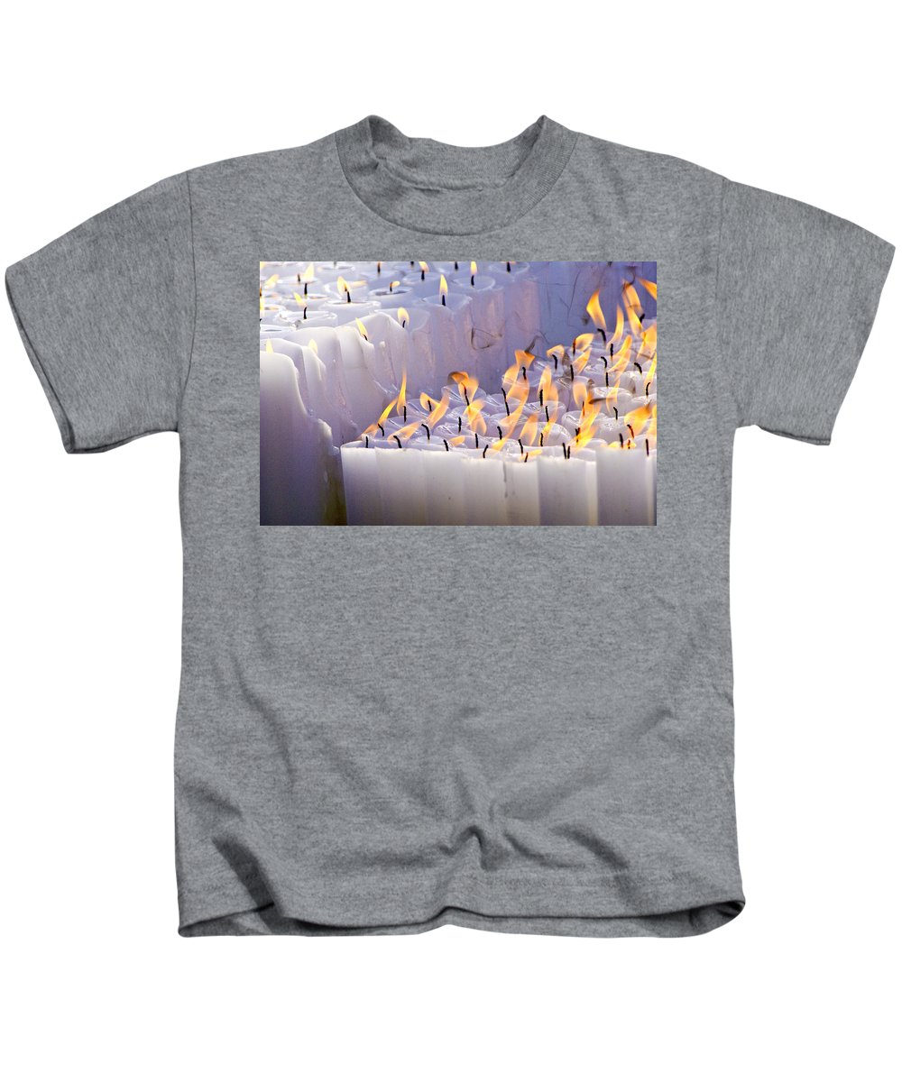 Candles Kids T-Shirt featuring the photograph Offering by Michele Burgess