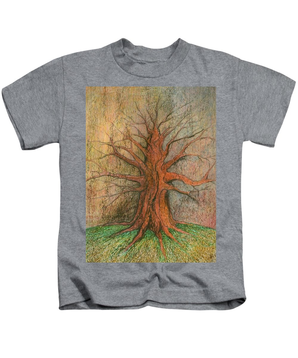 Colour Kids T-Shirt featuring the painting Old Tree by Wojtek Kowalski