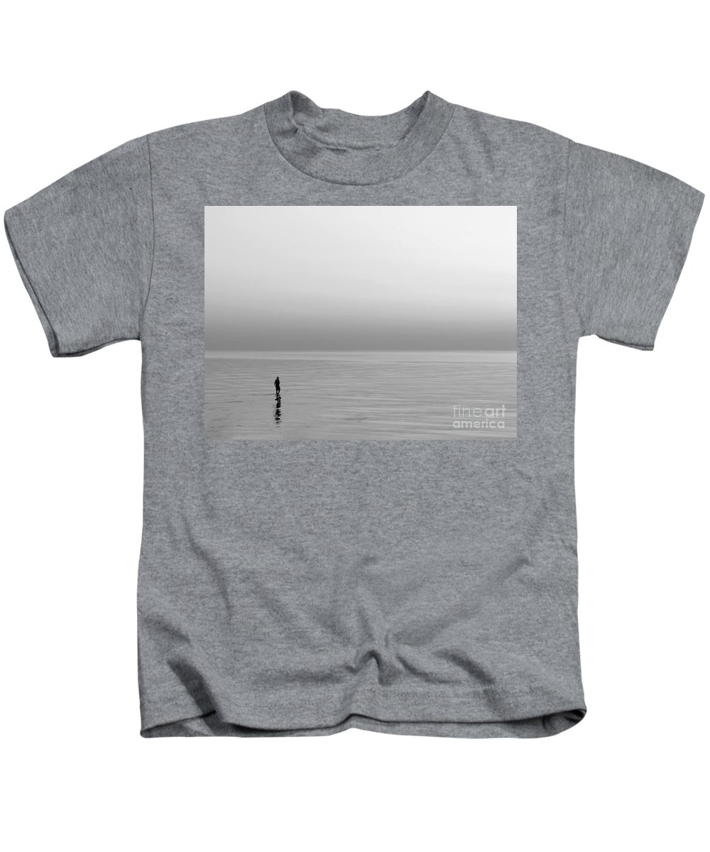Lake Kids T-Shirt featuring the photograph One Man by Dana DiPasquale