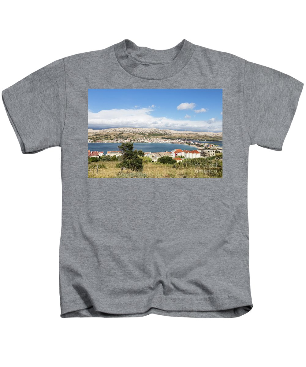 Balkans Kids T-Shirt featuring the photograph Pag Old Town In Croatia by Didier Marti