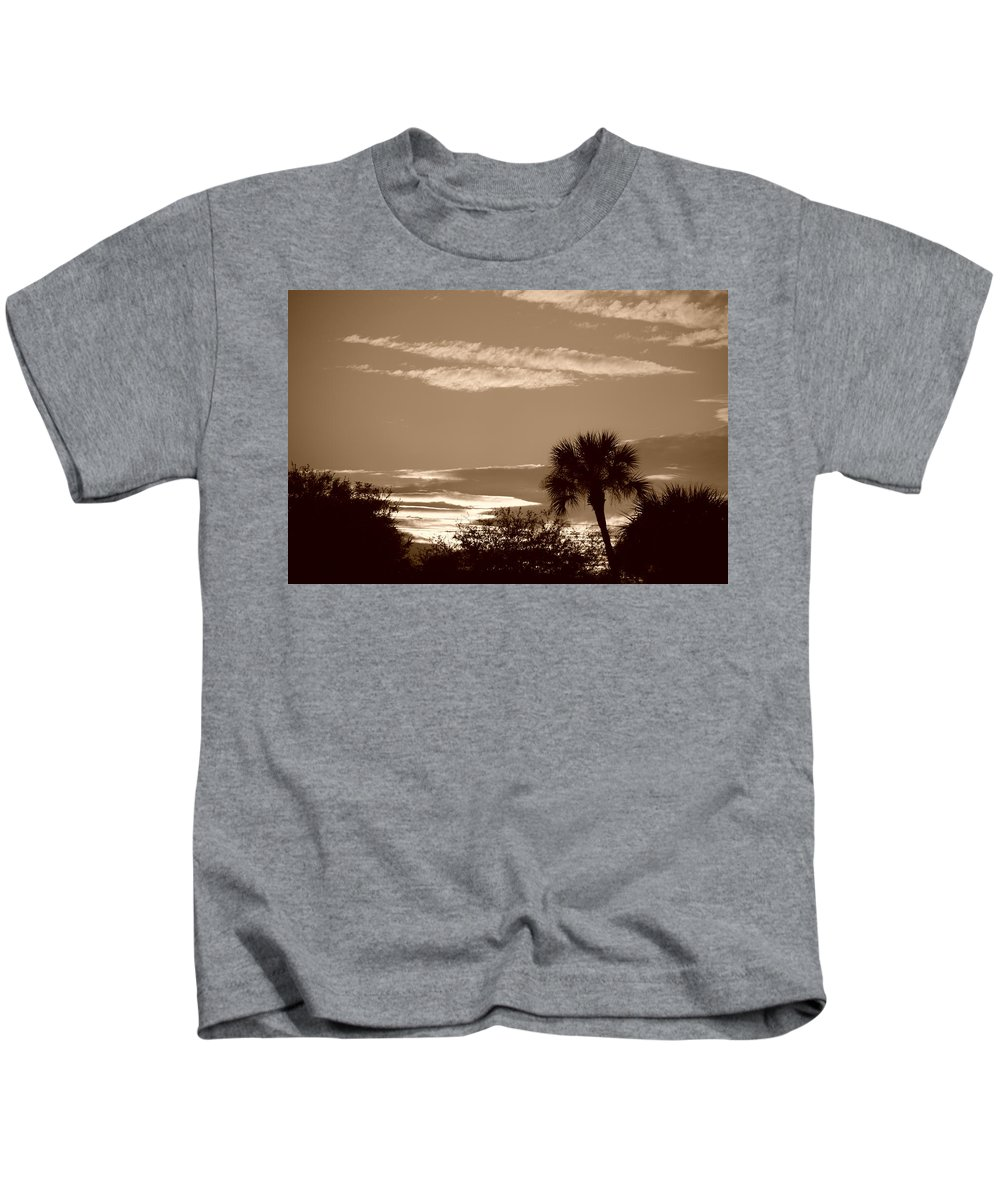 Sepia Kids T-Shirt featuring the photograph Palms In The Clouds by Rob Hans