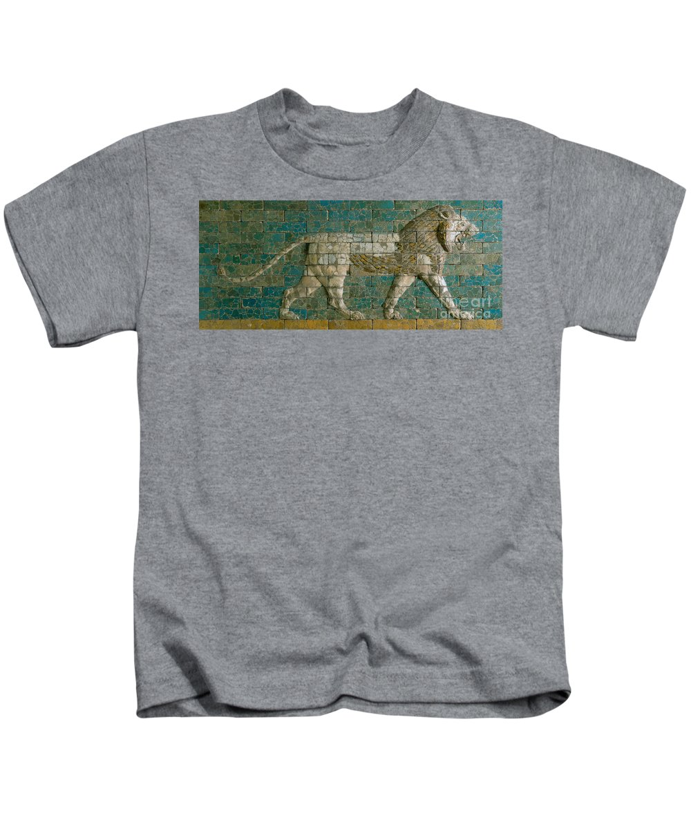 Lion Kids T-Shirt featuring the ceramic art Panel With Striding Lion by Babylonian School
