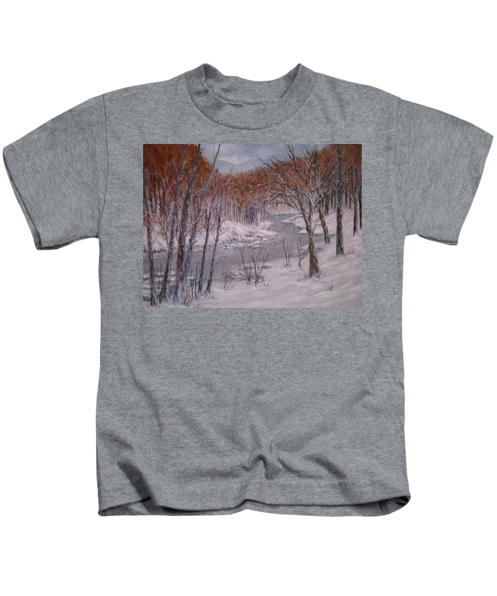 Snow; Landscape Kids T-Shirt featuring the painting Peace And Quiet by Ben Kiger
