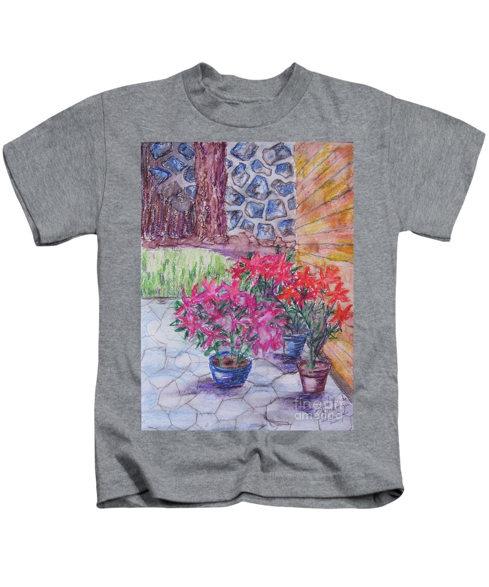 Poinsettias Kids T-Shirt featuring the painting Poinsettias - Gifted by Judith Espinoza