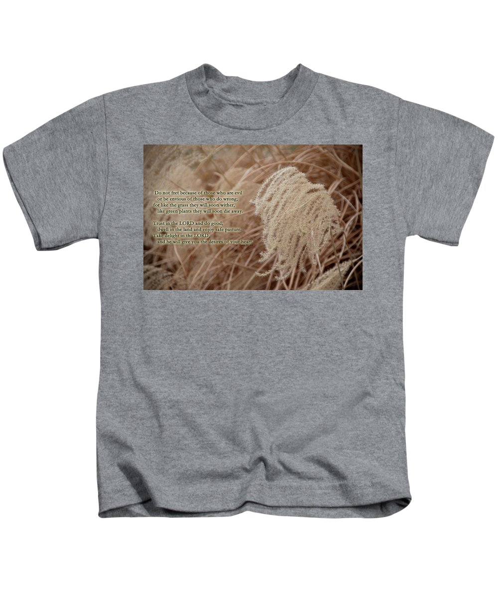 Psalm Kids T-Shirt featuring the photograph Psalm 37 by David Arment