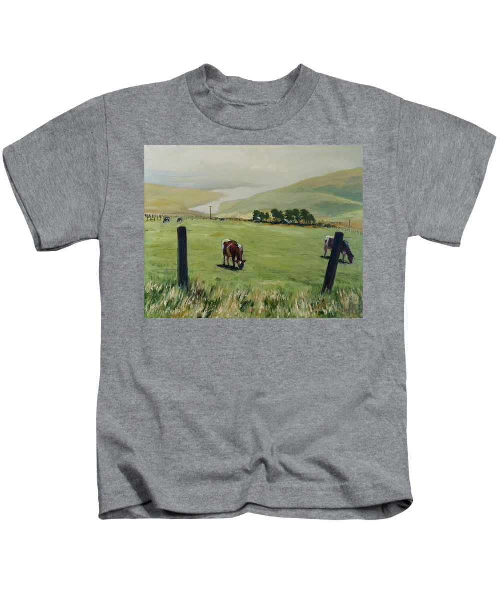 Landscape Kids T-Shirt featuring the painting Pt. Reyes by Rick Nederlof