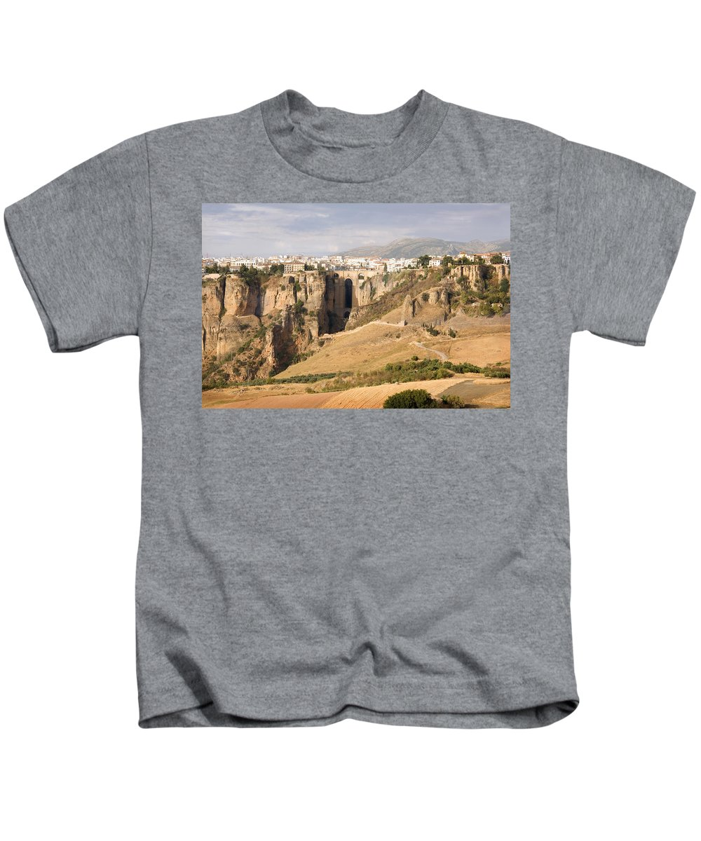 Ronda Kids T-Shirt featuring the photograph Puente Nuevo Tajo De Ronda Andalucia Spain Europe by Mal Bray