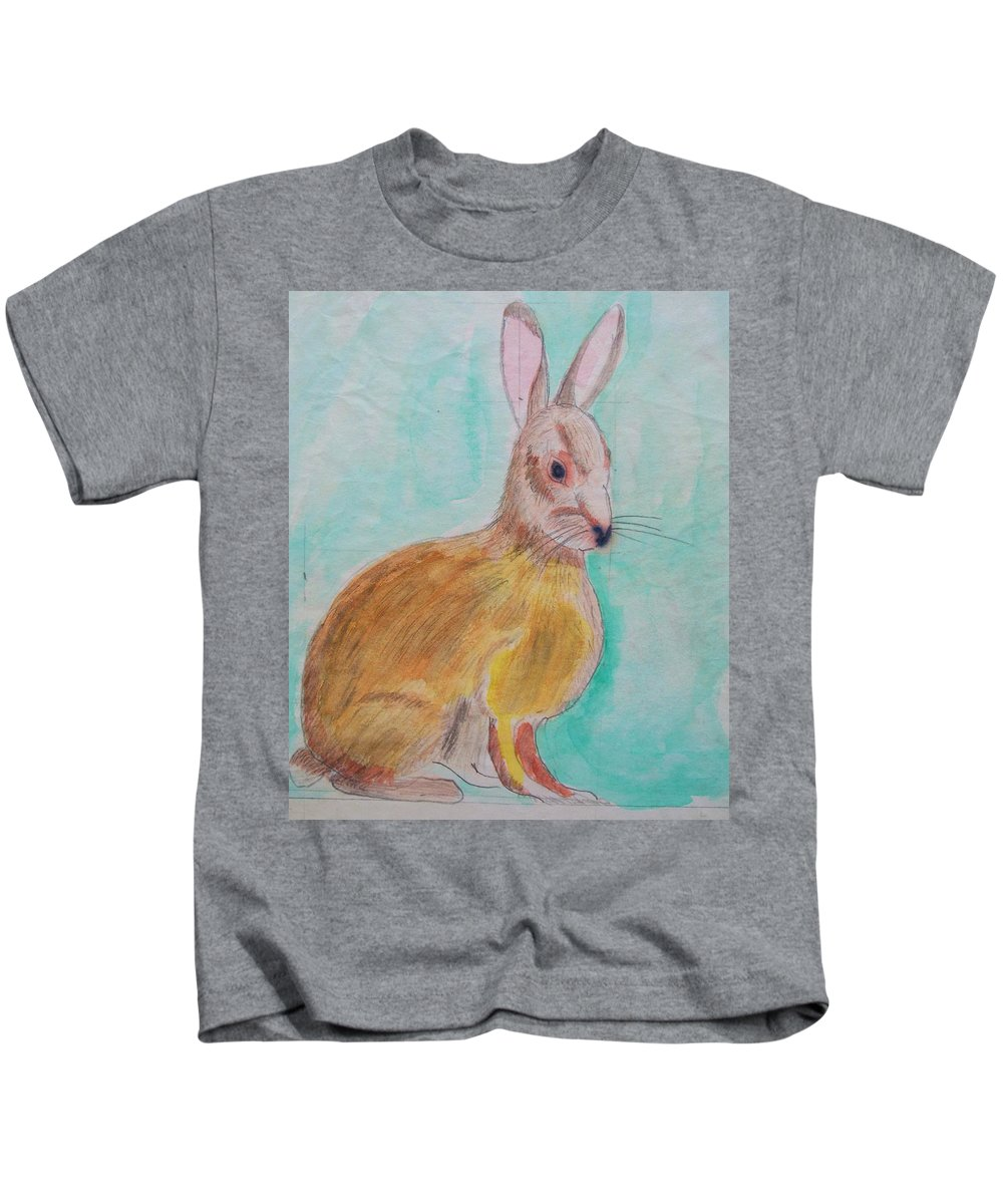 Rabbit Kids T-Shirt featuring the painting Rabbit Illustration by Eric Schiabor