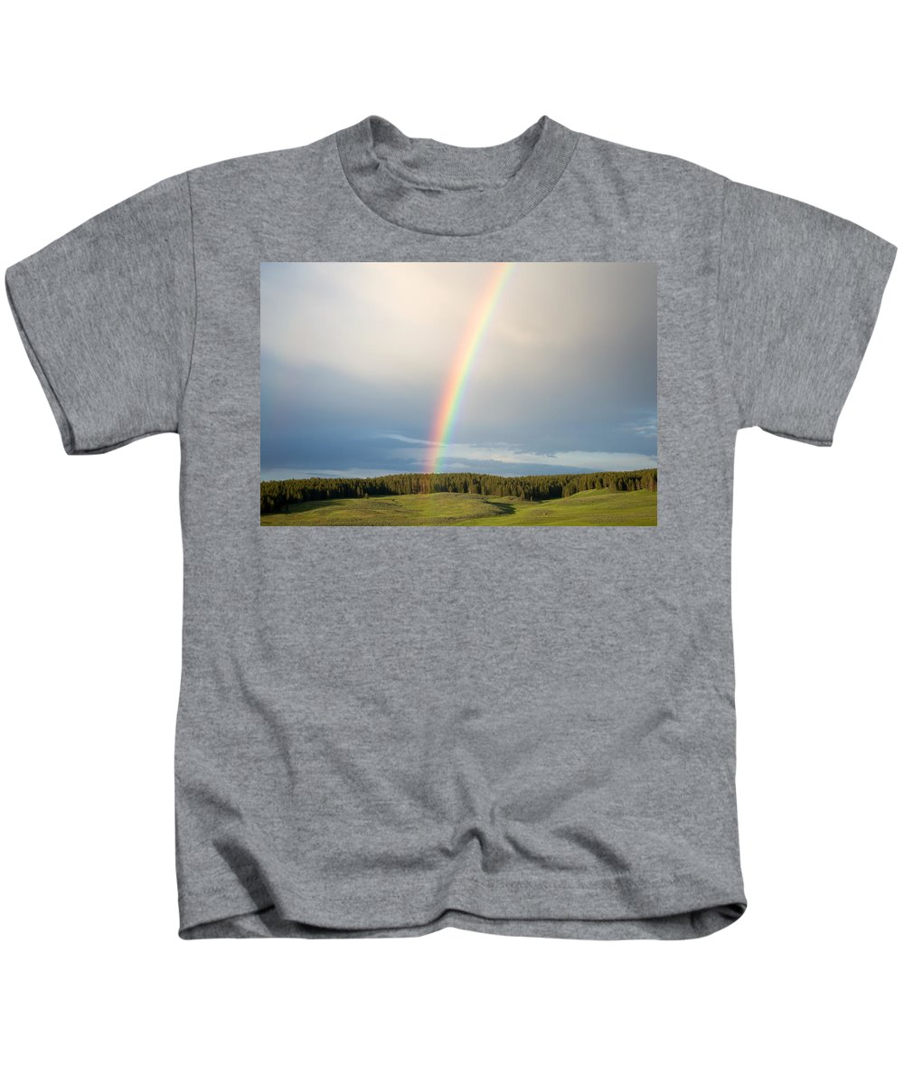 Clouds Kids T-Shirt featuring the photograph Rainbow by Linda Kerkau