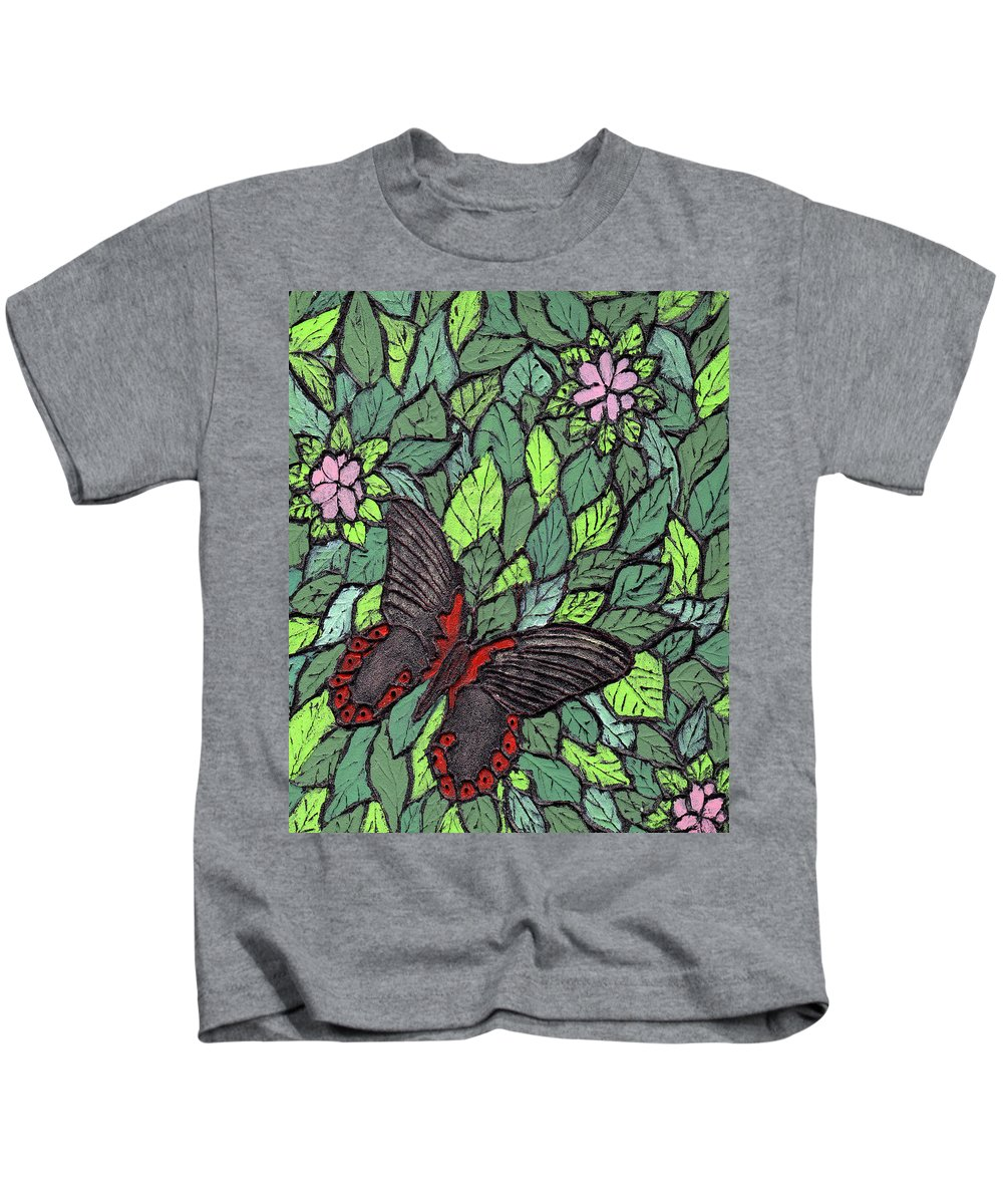 Butterfly Kids T-Shirt featuring the painting Red Butterfly by Wayne Potrafka