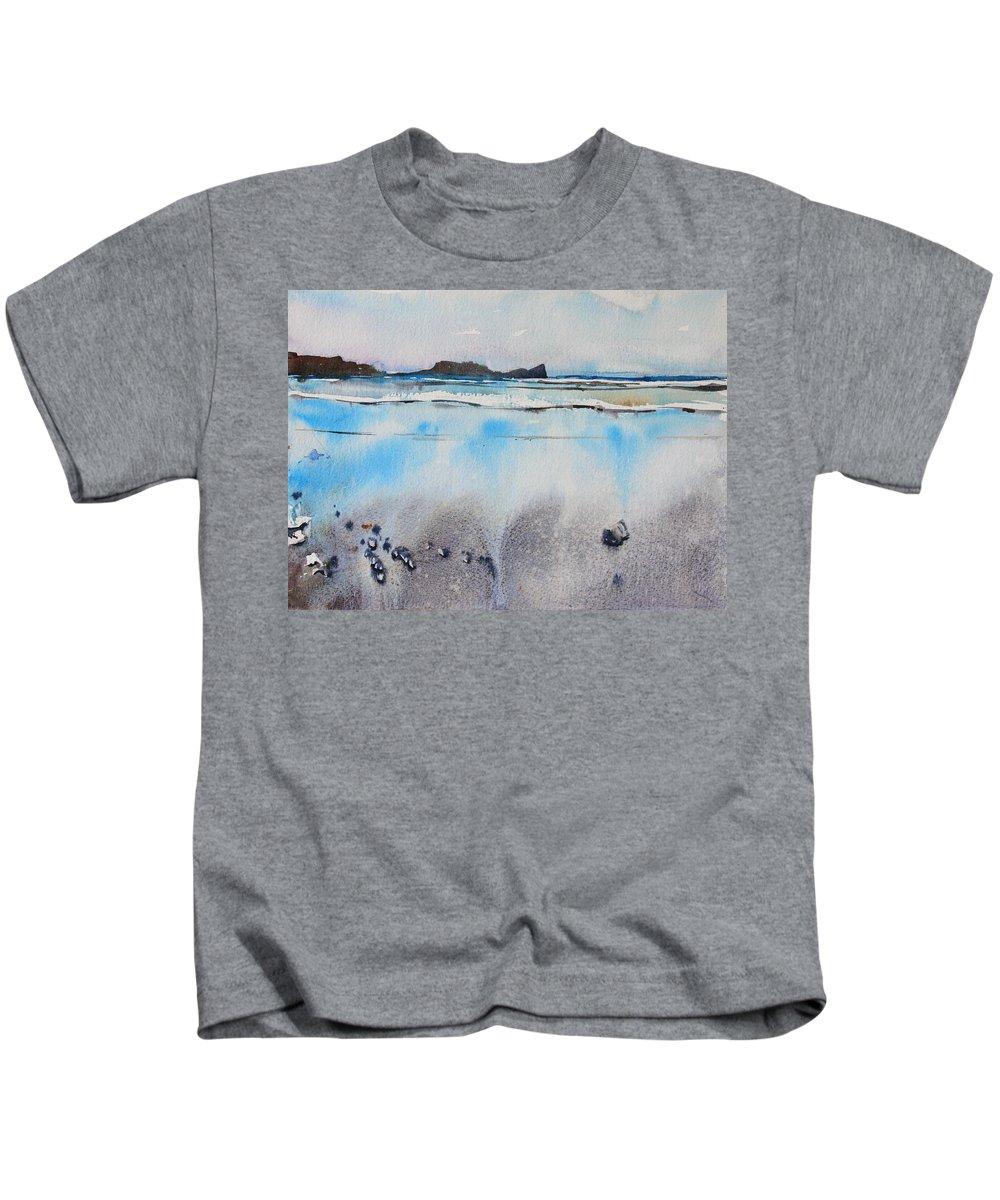 Rhossili Bay Kids T-Shirt featuring the painting Rhossili Bay, Wales by Ibolya Taligas