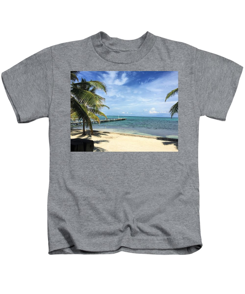 Beach Landscape Kids T-Shirt featuring the photograph San Pedro Belize by Julia Breheny