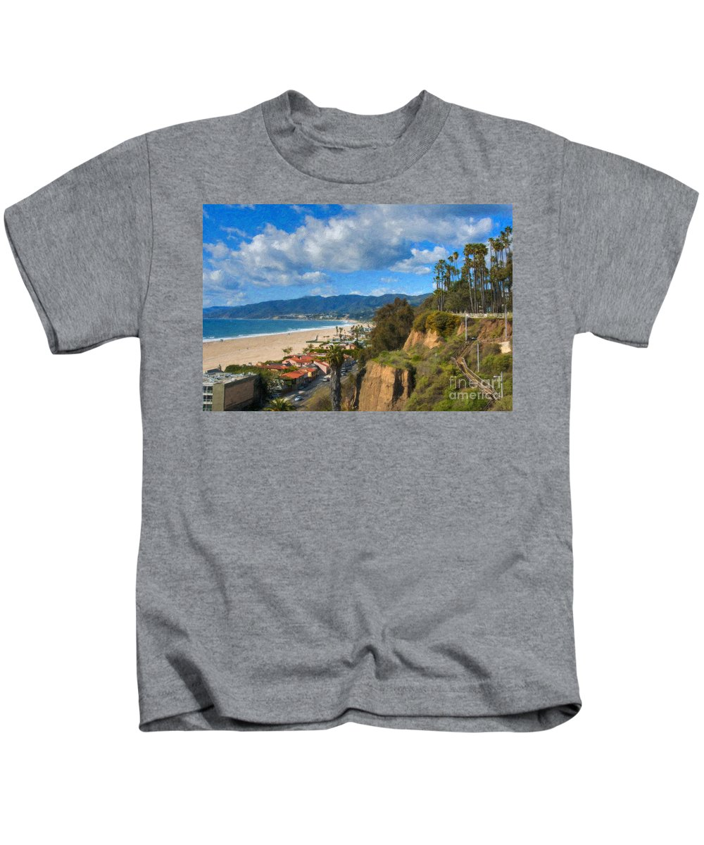 Santa Monica Kids T-Shirt featuring the photograph Santa Monica Ca Steps Palisades Park Bluffs by David Zanzinger